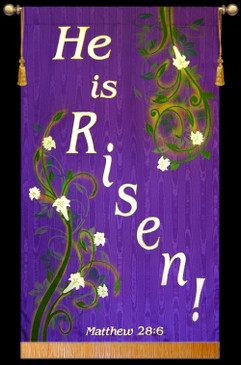 He is Risen - Vines - Easter Banner