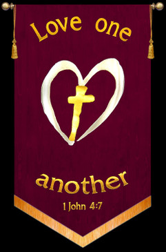 Love one another - 1John 4:7 - Heart Cross Banner