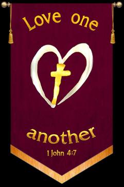 Love one another - 1John 4:7 - Heart Cross Banner