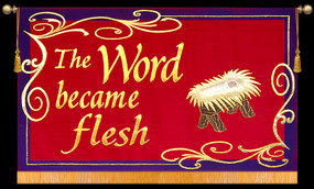 The Word became flesh with Creche - Horizontal Christimas Banner