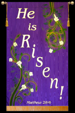 Church Banner - He is Risen - Vines - 7' x 48""
