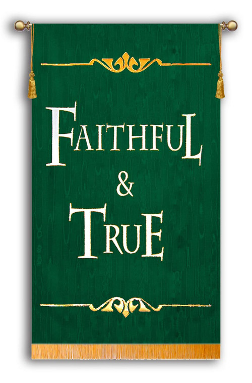 Faithful & True Sanctuary Banner Green Background