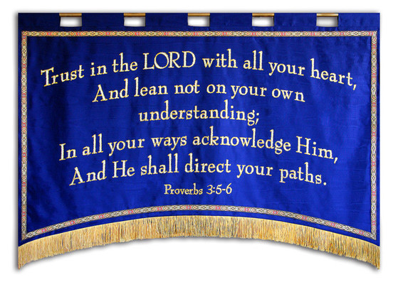 Trust in the LORD with all your heart Proverbs 3 wide Church Banner