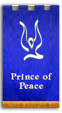 Prince of Peace with descending dove sanctuary banner blue