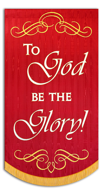 To God be the Glory - shown on red background