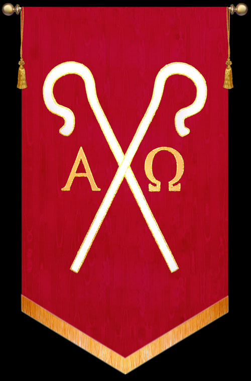 Symbol Alpha Omega With Staffs Christian Banners For Praise And