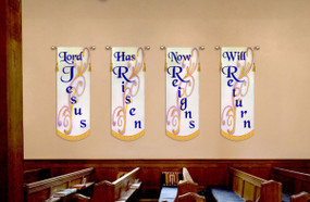 4 Banner SET - Lord Jesus - Has Risen - Now reigns - Will Return