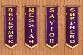 4 Banner SET - Names - Redeemer, Savior, Messiah, Shepherd