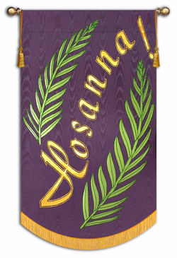 Amethyst Background with Gold Text and Light Green Leaves