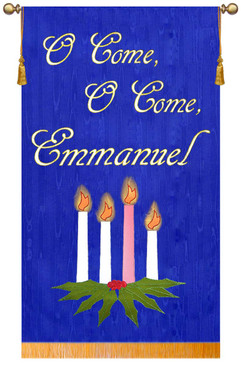 SALE BANNER - O COME O COME EMMANUEL - WITH CANDLES - 5' x 36""