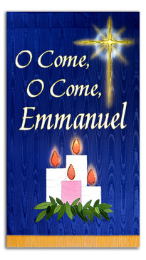 SALE BANNER - O COME O COME EMMANUEL - WITH CANDLES AND STAR - 4' x 30""