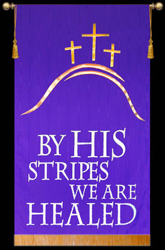SALE BANNER - BY HIS STRIPES WITH HILL AND CROSSES - 5' x 36""