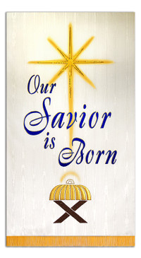 SALE BANNER - OUR SAVIOR IS BORN - CRECHE - ON WHITE - 4' x 30""
