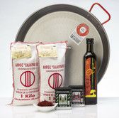 Large paella kit including 42cm paella pan, 2 kilograms Calasparra rice, 2 types of paprika, extra virgin olive oil and saffron