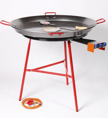 Garcima 700mm Triple Ring Gas Burner Bundle with Stand and 90cm Carbon Steel Paella Pan