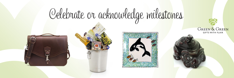 A variety of gifts, including a champagne basket and West Coast art.