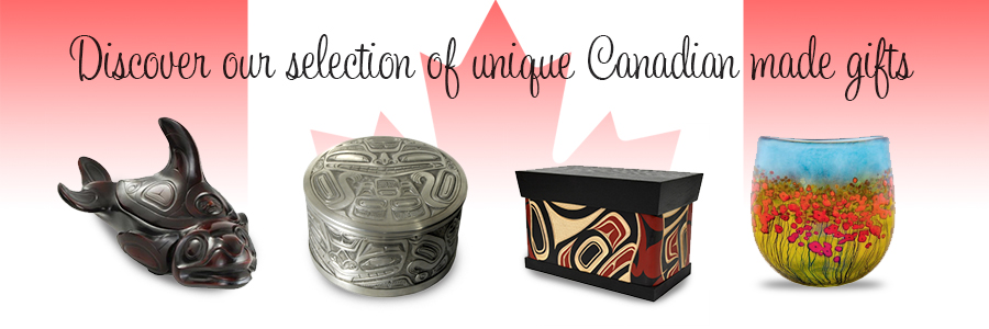 Variety of West Coast gifts over the Canadian flag.