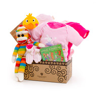 Gift basket for new baby, featuring pink clothing, rainbow sock monkey, and toys.