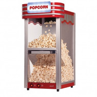 Theatre-style popcorn maker with grey components and red trim.