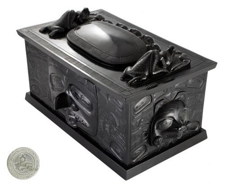 Black marble box with West Coast First Nations' clamshell design.