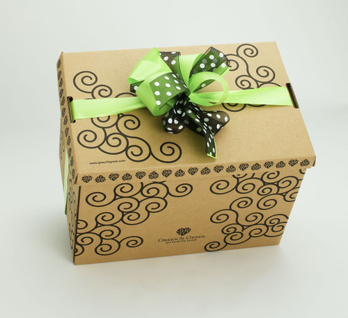 Signature Green & Green gift box with green and polka dot ribbon and bow.