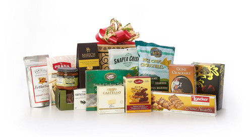 Gourmet gift basket featuring sweet and savoury snacks (chocolate, chips, crackers, smoked salmon, etc.) packaged in signature Green & Green gift box with red and gold ribbon and bow.