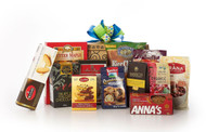 Gourmet gift basket featuring sweet and savoury snacks (chocolate, chips, nuts, cookies, etc.) packaged in signature Green & Green gift box with blue and green ribbon and bow.