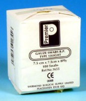 Buy Premier Gauze Swabs, Non Sterile, 7.5 x 7.5cm, 8ply, Pack of 100 (PM1655) sold by eSuppliesMedical.co.uk