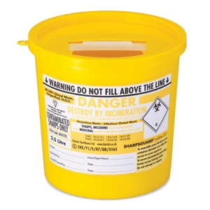 Buy Daniels Sharpsguard Yellow 2.5 Litre Sharps Bin (DD472YL) sold by eSuppliesMedical.co.uk