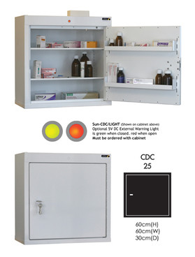Buy Controlled Drug Cabinet with 2 Shelves/2 Trays, 1 Door - 66cm(H) x 60cm(W) x 30cm(D) - With Warning Light (SUN-CDC25/WL) sold by eSuppliesMedical.co.uk