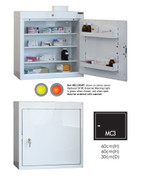 Buy Medicine Cabinet - 3 Shelves & 2 Door Trays, 1 Door - 66cm(H) x 60cm(W) x 30cm(D) - With Light (SUN-MC3/WL) sold by eSuppliesMedical.co.uk