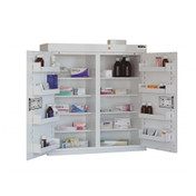 Medicine Cabinet - 8 Shelves & 8 Door Trays, 2 Doors - 91cm(H) x 80cm(W) x 30cm(D) - With Light