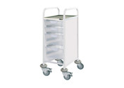 Buy Clinical Vista 30 - 2 Single and 2 Double Clear Trays - Stainless Steel Top, Castor Buffers (SUN-CVT31C) sold by eSuppliesMedical.co.uk