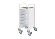 Buy Clinical Vista 30 - 3 Double Clear Trays - Stainless Steel Top, Castor Buffers (SUN-CVT32C) sold by eSuppliesMedical.co.uk