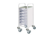Buy Clinical Vista 30 - 6 Single Clear Trays - Stainless Steel Top, Castor Buffers (SUN-CVT30C) sold by eSuppliesMedical.co.uk