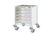 Buy Clinical Vista 40 - 5 Single Clear Trays - Stainless Steel Top, Castor Buffers (SUN-CVT40C) sold by eSuppliesMedical.co.uk