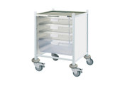 Buy Clinical Vista 40 - 3 Single and 1 Double Clear Trays - Stainless Steel Top, Castor Buffers (SUN-CVT41C) sold by eSuppliesMedical.co.uk