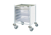 Buy Clinical Vista 40 - 1 Single and 2 Double Clear Trays - Stainless Steel Top, Castor Buffers (SUN-CVT42C) sold by eSuppliesMedical.co.uk