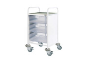 Buy Clinical Vista 50 - 3 Double Clear Trays - Stainless Steel Top, Castor Buffers (SUN-CVT52C) sold by eSuppliesMedical.co.uk