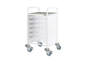 Buy Clinical Vista 50 - 6 Single Clear Trays - Stainless Steel Top, Castor Buffers (SUN-CVT50C) sold by eSuppliesMedical.co.uk