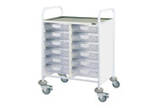 Buy Clinical Vista 60 - 12 Single Clear Trays - Stainless Steel Top, Castor Buffers (SUN-CVT60C) sold by eSuppliesMedical.co.uk