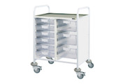 Buy Clinical Vista 60 - 3 Single and 3 Double Clear Trays - Stainless Steel Top, Castor Buffers (SUN-CVT61C) sold by eSuppliesMedical.co.uk