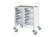 Buy Clinical Vista 60 - 6 Double Clear Trays - Stainless Steel Top, Castor Buffers (SUN-CVT62C) sold by eSuppliesMedical.co.uk