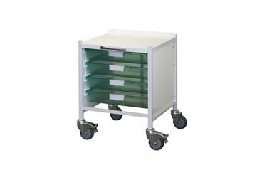 Buy VISTA 15  Trolley - 4 Single Depth Green Trays (Sun-MPT51G) sold by eSuppliesMedical.co.uk