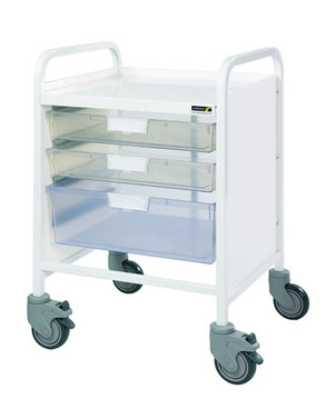 Buy VISTA 20 Trolley - 2 Single / 1 Double Depth Clear Trays (Sun-MPT8C) sold by eSuppliesMedical.co.uk