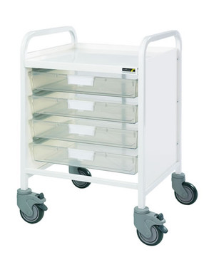 Buy VISTA 20 Trolley - 4 Single Depth Clear Trays (Sun-MPT7C) sold by eSuppliesMedical.co.uk