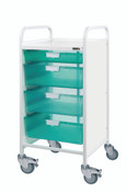 Vista 55 Trolley - 1 Single / 3 Double Depth Clear Trays