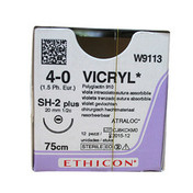 Buy Vicryl (W9113) Coated Braided Suture, Violet 4/0 20mm 1/2 Circle Taper Point, Box of 12 (ETW9113) sold by eSuppliesMedical.co.uk