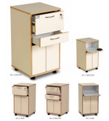 Bristol Maid Laminate Bedside Cabinets - Lockable Top Section, Lower Cupboard with Double Doors