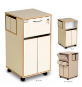 Bristol Maid Laminate Bedside Cabinets - With Rear Side Door, Lockable Top Section (RFID Lock), Lower Cupboard with Double Doors, Moulded Plastic Top